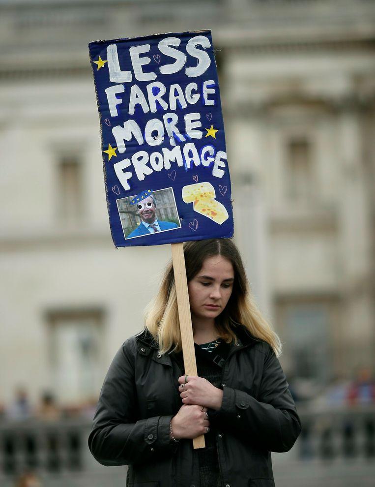 Een demonstrant tijdens het anti-brexitprotest zaterdag in Londen. Beeld null