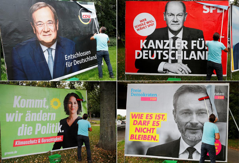 De vier belangrijkste kandidaten in de Duitse verkiezingsstrijd. Met de klok mee: Armin Laschet (CDU), Olaf Scholz (SPD), Christian Lindner (FDP) en Annalena Baerbock (Groenen).