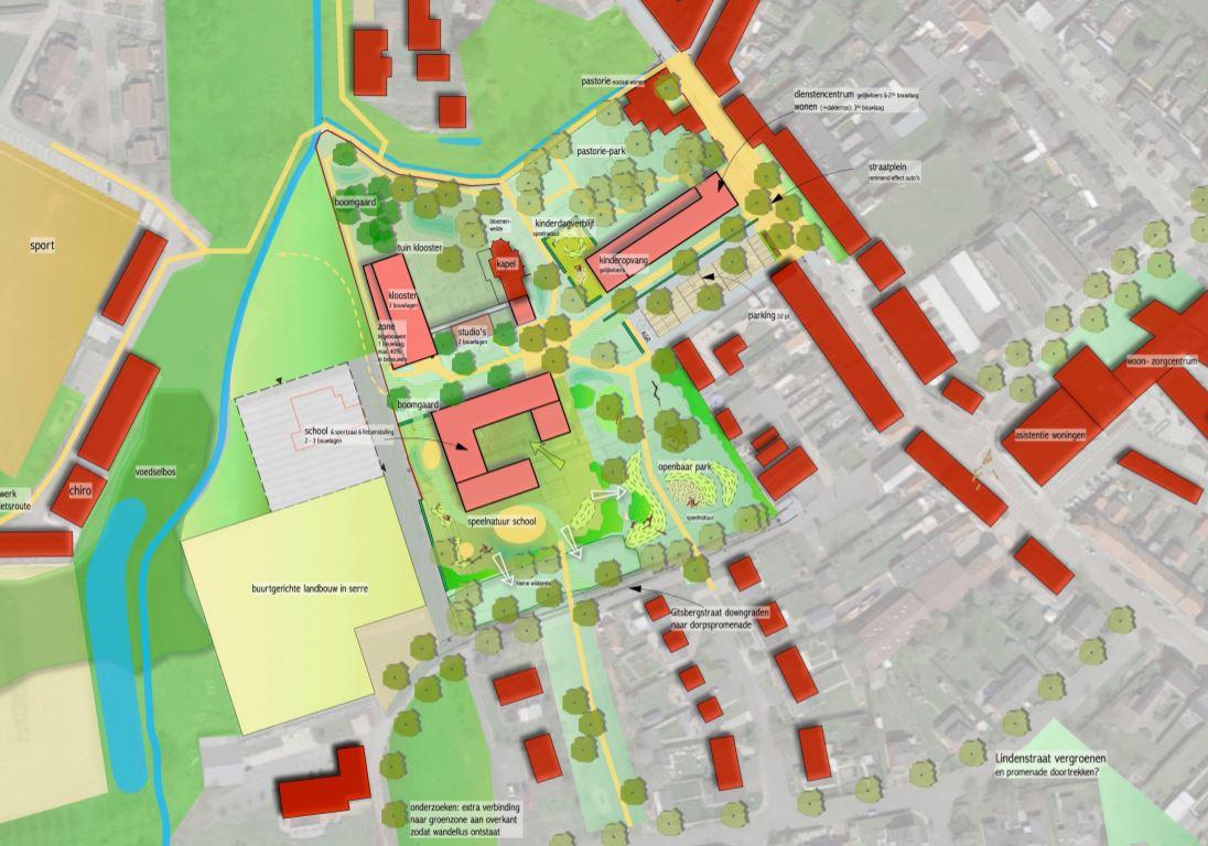Het ontwerp voor de herinrichting van de kloostersite in het masterplan Gits 2.0
