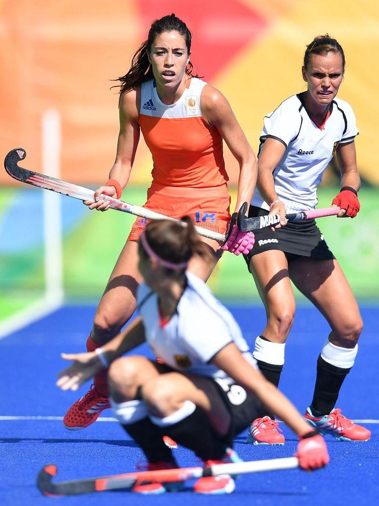 De halve finale tussen Nederland en Duitsland, tijdens de Olympische Spelen van 2016. Beeld afp