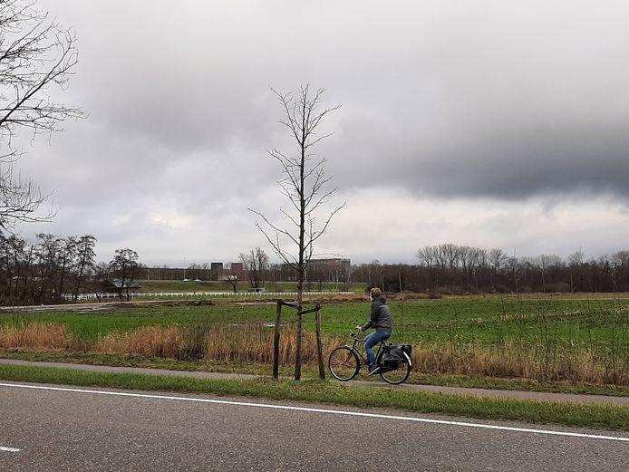 De beoogde locatie gezien vanaf de Ambrosiusweg. Op de achtergrond de snelweg en het Van der Valk-hotel.