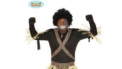Bol.com door het stof vanwege zwart geschminkt model dat 'Jungle & Afrika Kostuum' aanprijst