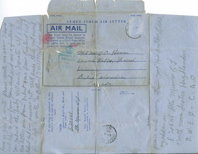 De laatste brief die soldaat Edward John Munro aan zijn zus schreef, gedateerd op 23 maart 1945.