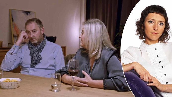 Rechts: Sven en Veerle zetten vroegtijdig een punt achter hun 'Blind Getrouwd'-huwelijk. Links: relatietherapeut Mieke Mievis.