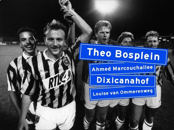 'Mister Vitesse' Theo Bos (tweede van links) verdient een straat in Arnhem, vinden veel Arnhemmers die op een oproep van de Gelderlander reageerden.