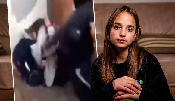Lindsay, 13-jarig meisje dat zwaar toegetakeld werd door enkele medeleerlingen van het Stedelijk Lyceum in Merksem
