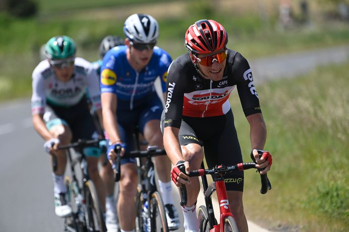 Issoire - France - wielrennen - cycling - cyclisme - radsport - Brent Van Moer (Belgium / Team Lotto Soudal) - Ian Garrison (USA / Team Deceuninck - Quick Step) - Patrick Gamper (Austria / Team Bora - hansgrohe) pictured during Criterium du Dauphine Libere cycling race,  stage 1- with start and finish in Issoire (182KM) on May 30, 2021 - photo NV/PN/Cor Vos © 2021