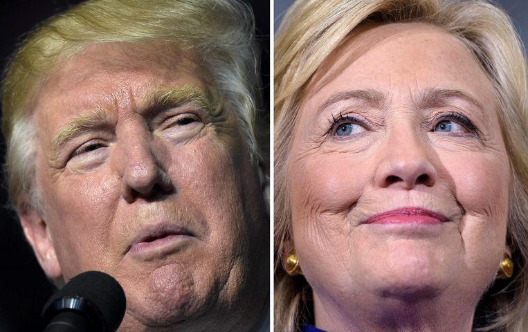 Donald Trump and Hillary Clinton. Beeld AFP