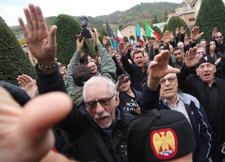 Een manifestatie in Predappio bij de herdenking van de mars naar Rome.