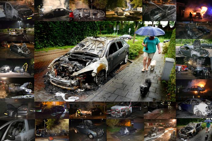 Beeldcollage van foto's van diverse fotografen van autobranden in Gelderland, onder meer in Culemborg.