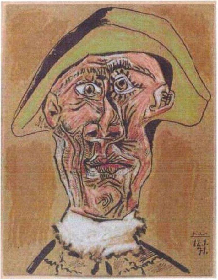 Het gaat om de in 1971 gemaakte pasteltekening Tête d'Arlequin (Hoofd van een harlekijn).