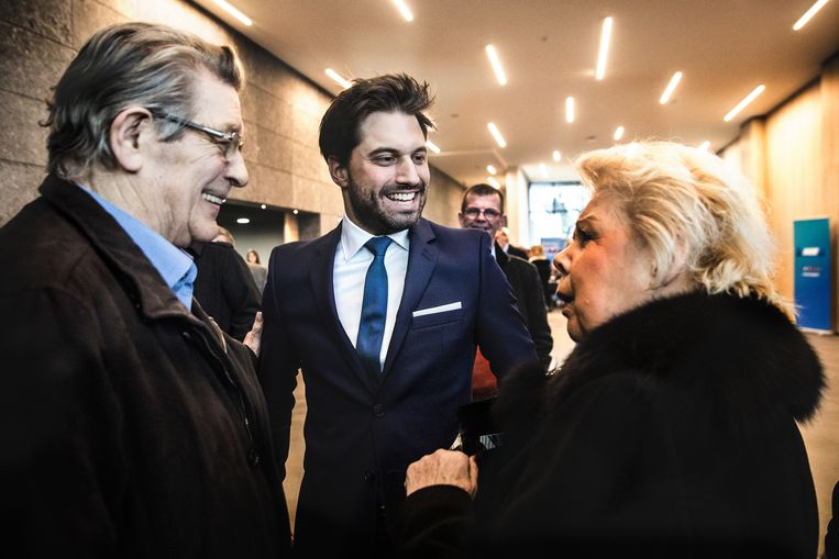 Een stralende Bouchez op de MR-nieuwjaarsreceptie. Een maand eerder won hij de voorzittersverkiezing van de partij.  Beeld Aurélie Geurts