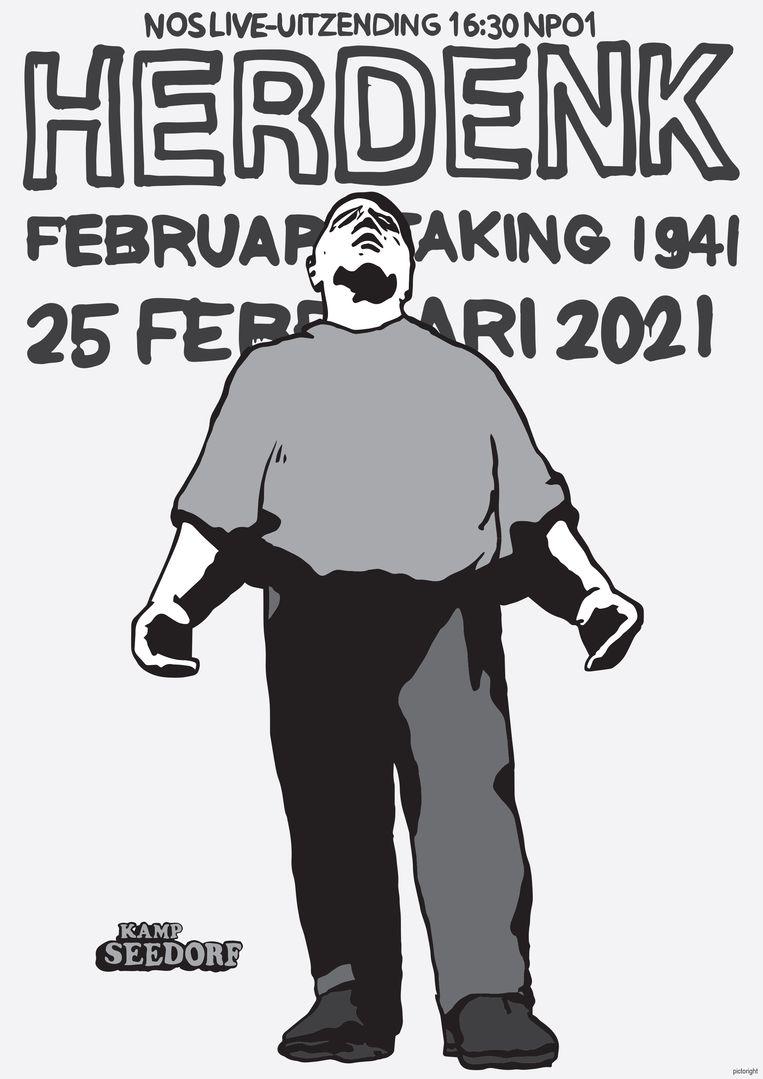 Kamp Seedorf heeft dit jaar de affiche voor de herdenking van de februaristaking ontworpen. Beeld Comité Herdenking Februaristaking 1941