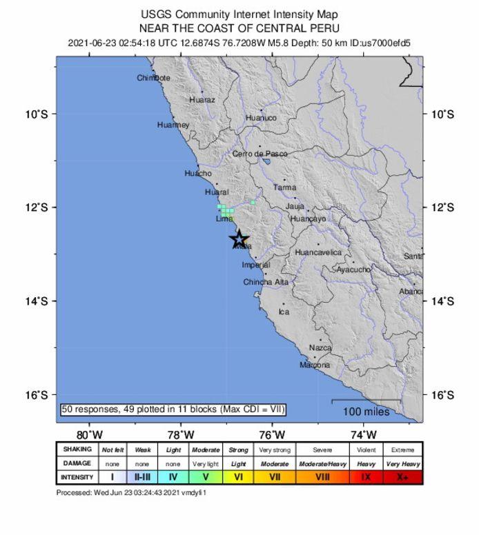 De plek waar de aardbeving plaatsvond volgens de gegevens van het Amerikaanse USGS.