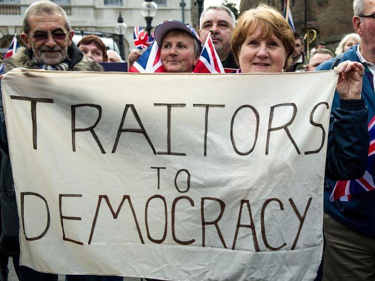 Pro-brexit-betogers in Londen. Beeld Photo News