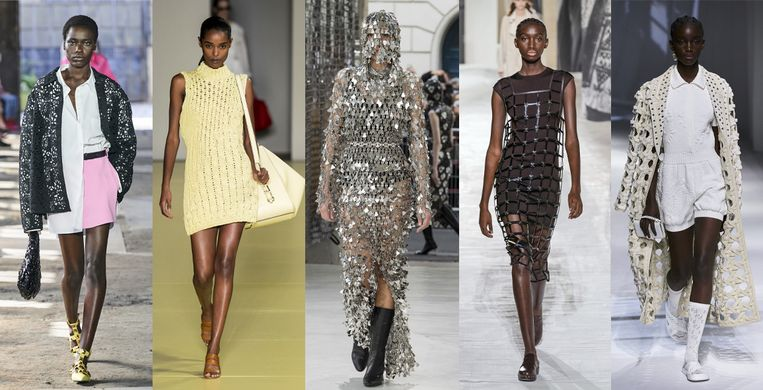 Vanaf links: Valentino, Salvatore Ferragamo, Paco Rabanne, Hermès, Fendi Beeld Imaxtree
