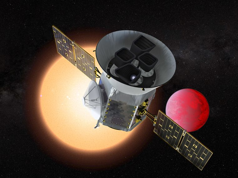 Illustratie van de Transiting Exoplanet Survey Telescope (TESS). Beeld NASA-GSFC