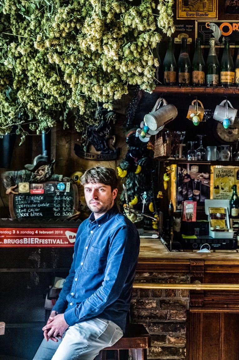 Dries Brouckaert van café 't Brugs Beertje. 'Ik wil een onafhankelijk café blijven.' Beeld Tim Dirven