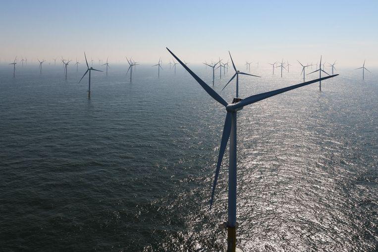 Een windmolenpark op de Noordzee. Beeld Photo News