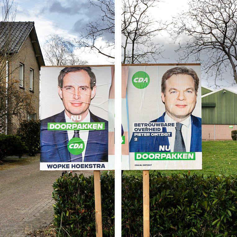 Verkiezingsbord voor de Tweede Kamerverkiezingen van 2021.  Beeld Branko de Lang