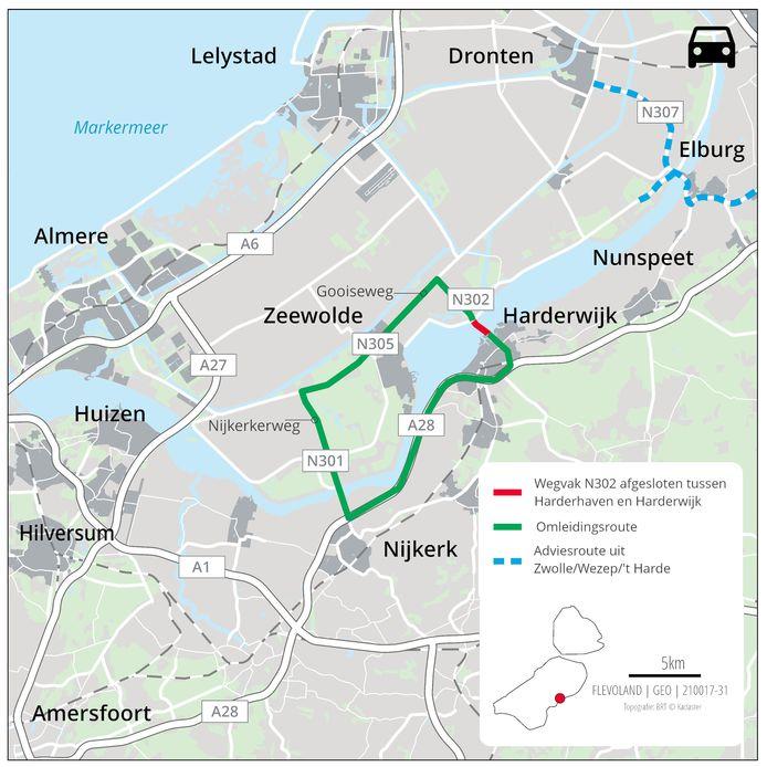Impressie van de wegafsluiting en omleidingen tussen Harderwijk en de Flevopolder.