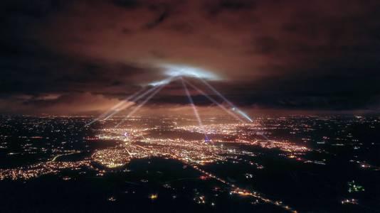 Dronebeeld van een vorige editie van het Oosterlicht, gezien vanuit Doetinchem.