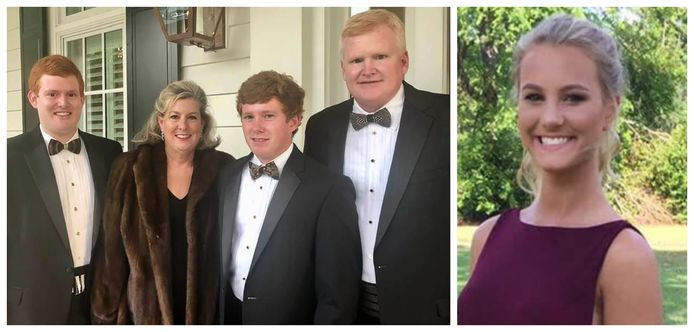Paul (22) (midden) en zijn moeder Maggie (52) Murdaugh zijn op 7 juni vermoord aangetroffen. Vader Alex en oudere broer Buster blijven achter. Foto rechts: Mallory Beach (19) verdronk in 2019 bij een fataal bootongeluk.