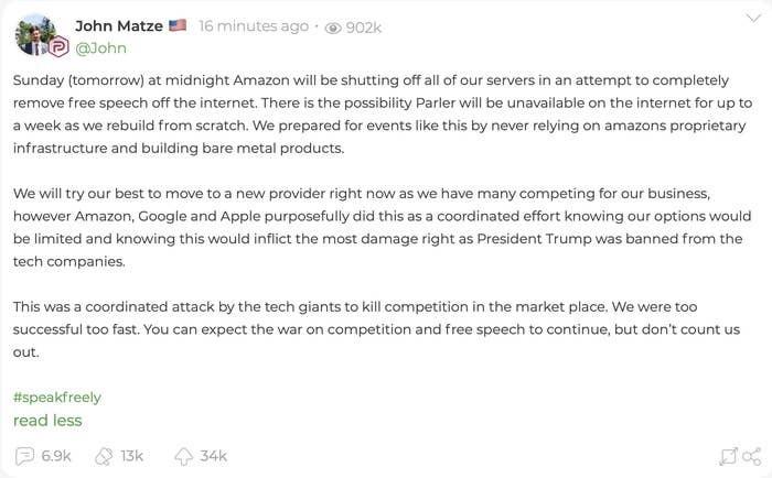 Het statement van CEO John Matze