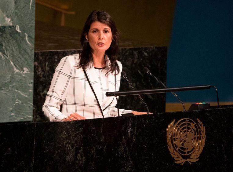 Amerikaans VN-ambassadeur Nikki Haley. Beeld AFP