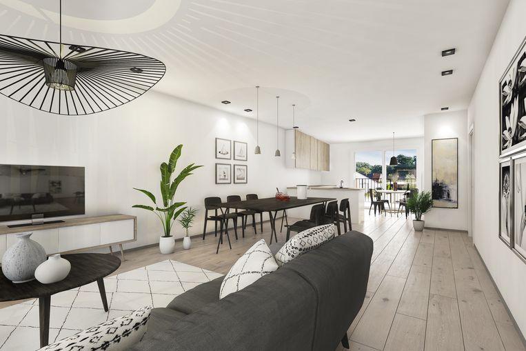 Een visualisatie van een appartement. Als toekomstig bewoner kies je zelf de afwerkingsmaterialen.