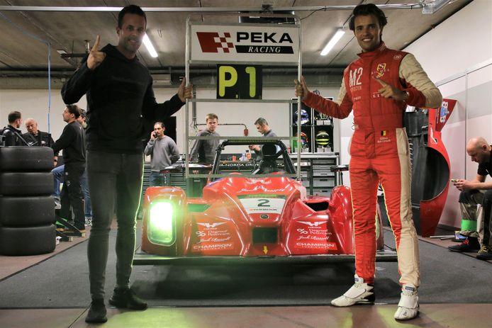 Gilles Magnus (r.) na zijn polepositie in Zolder, samen met teammanager Anthony Kumpen van PK Carsport.