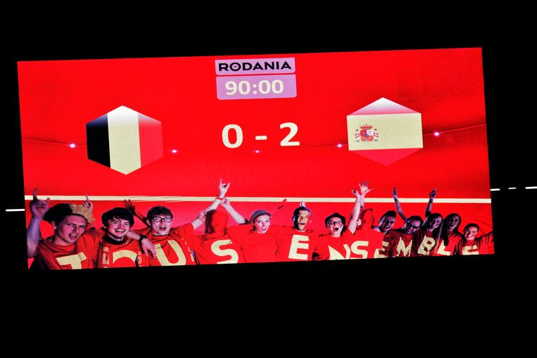 BRUSSELS, BELGIUM - SEPTEMBER 01 : illustration picture of the scoreboard during a FIFA international friendly match between Belgium and Spain at the King Baudouin Stadium on September 01, 2016 in Brussels, Belgium , 1/09/2016 ( Photo by Peter De Voecht / Photonews Beeld null