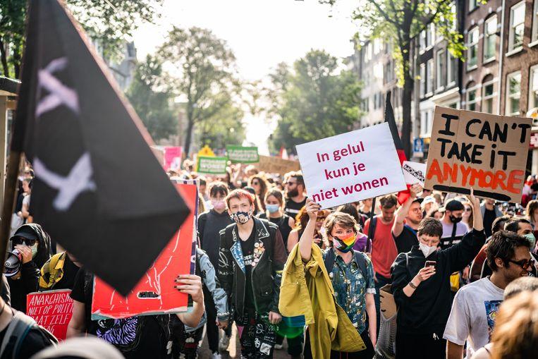 Woonprotest in Amsterdam, 12 september 2021. Beeld Joris van Gennip