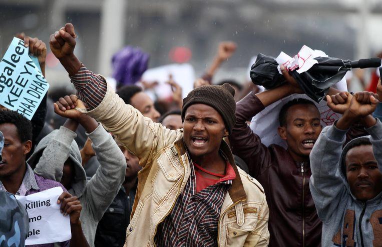 In oktober ontstond tijdens een festival een spontaan protest in Ethiopië tegen de regering. Beeld REUTERS