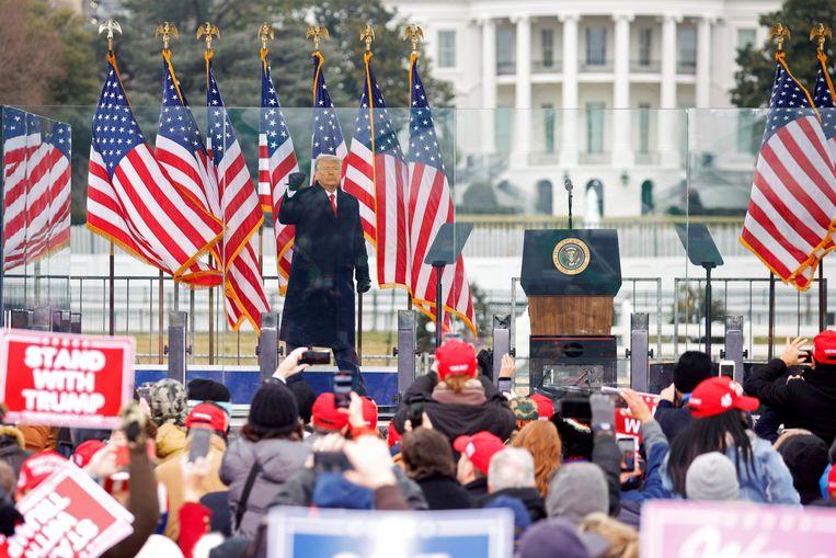 Donald Trump net voor zijn speech. Beeld Reuters