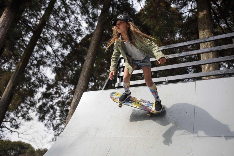 De Britse skateboardsensatie Sky Brown, zal volgend jaar op de Spelen dertien jaar oud zijn.  Beeld AFP