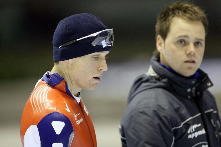 Johan de Wit (rechts) als coach van Jacques de Koning in 2008 Beeld null