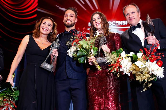 De winnaars op het Sportgala 2018: Bibian Mentel, Kjeld Nuis, Suzanne Schulting, Jac Orie en Raemon Sluiter.