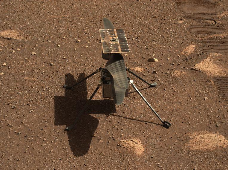 Een foto van helikopter Ingenuity, gemaakt op de planeet Mars. (05/04/2021) Beeld AFP
