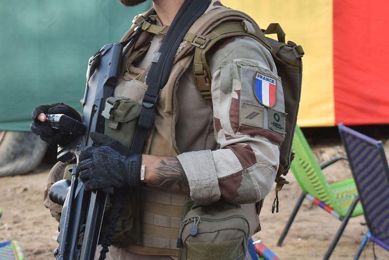 Illustratiebeeld. Een Franse soldaat in Timboektoe, Mali. (09/09/2021) Beeld AFP