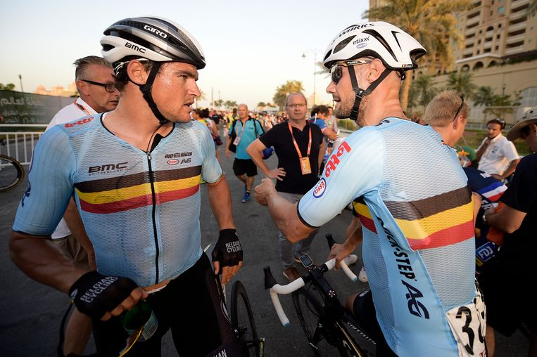 Greg Van Avermaet en Tom Boonen na de wegrit op het WK in Qatar. Boonen: