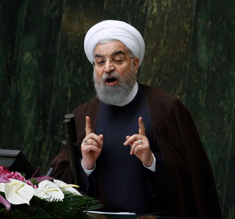 Iraans president Hassan Rouhani heeft gewaarschuwd voor de snelheid waarmee Iran zijn nucleaire capaciteiten kan verhogen. Beeld epa