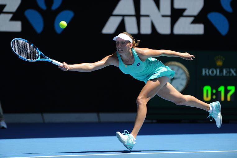 Elise Mertens tijdens de halve finale van de Australian Open in Melbourne. Beeld Photo News