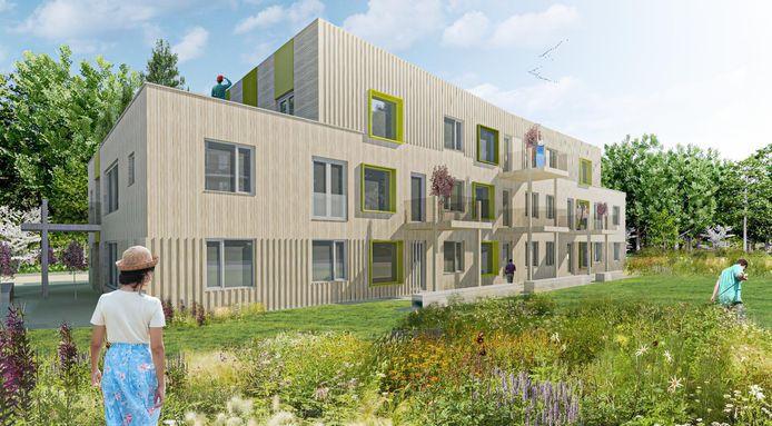 Artist impressie nieuwbouw aan Paul Krugersdreef in Sas van Gent, op de plek van de voormalige garage van René Bode.