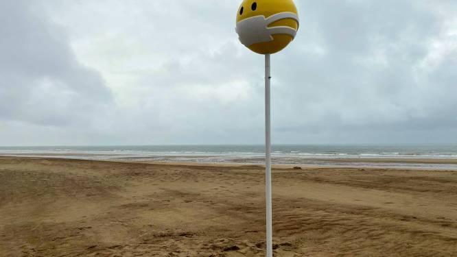 Na het 'lachend kakske' nu ook 'mondmasker- emoji' op strand