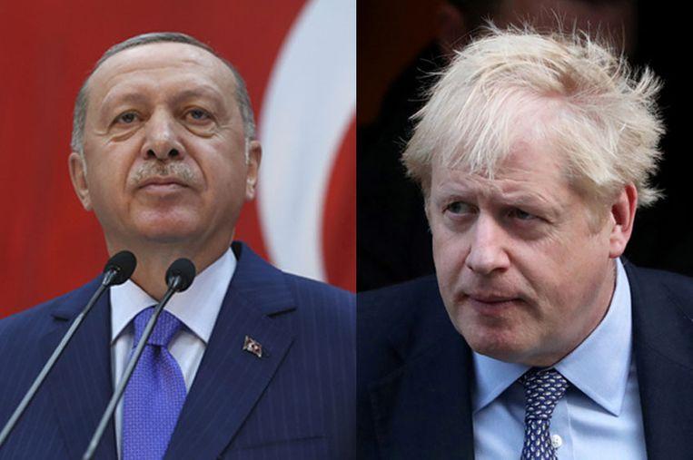 Links Turks president Erdogan, rechts Brits premier Johnson.