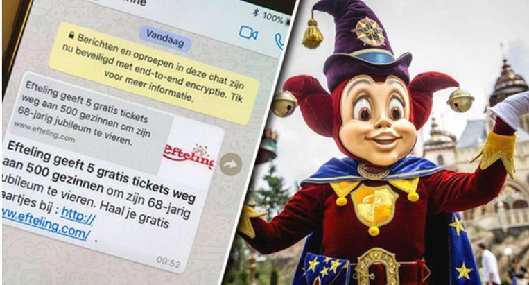 Opgelet Efteling Waarschuwt Voor Valse Promoties Via Whatsapp