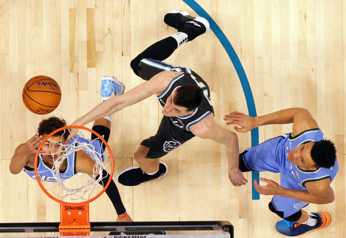 Een wedstrijd in de NBA.