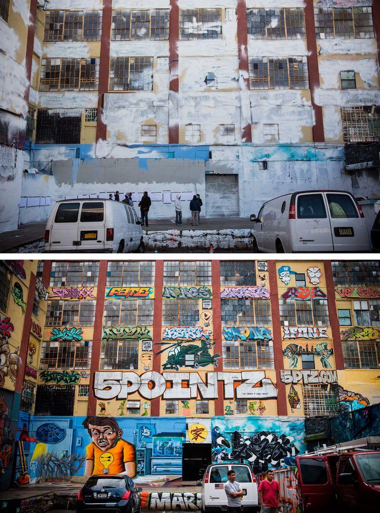 Twee keer het legendarische 5 Pointz in Queens. Boven: zo zag het eruit nadat de muren in de nacht van 19 november 2013 overschilderd werden in opdracht van vastgoedmakelaars. Beeld Getty Images