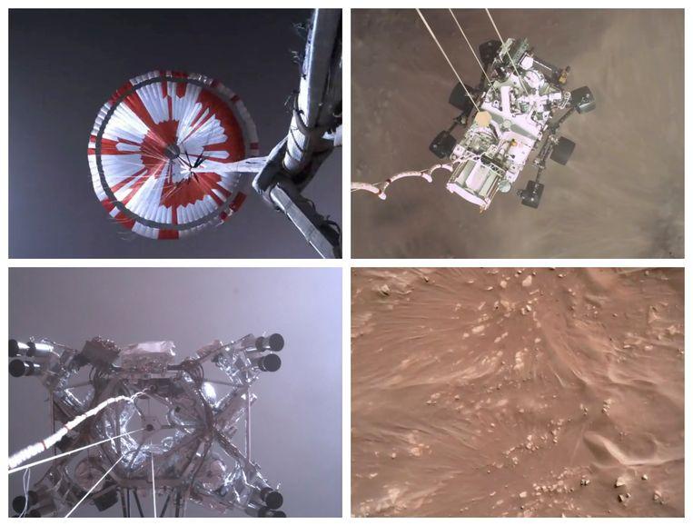Van links naar rechts, van onder naar boven: het uitklappen van de parachute, het marswagentje Perseverance op weg naar het oppervlak, de zwevende takelwagen 'Sky Crane' die de het karretje naar beneden laat zakken en het stof op de marsgrond dat tijdens de landing omhoog waait. Beeld AP